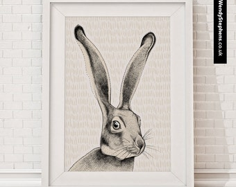 Hare // Illustrated Giclee Art Print // Wendy Stephens