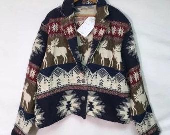 NEW Moose Print Woven Tapestry Jacket Sz XL Heavyweight Multicolor Coat