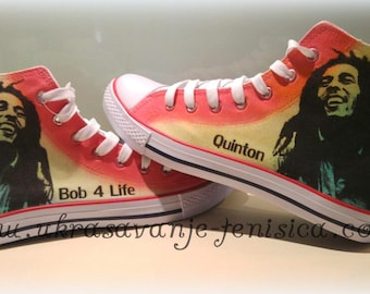 Hand painted Bob Marley Hi Tops