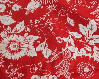 Red/White Hawaiian Cotton Fabric by the Yard, Cotton Fabric, Fabric by the Yard, Cotton Yardage
