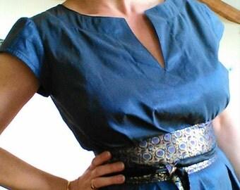 Ceremony dress / evening dress / dress in Midnight Blue taffeta / obi belt / mind Japan / cocktail dress / evening of the new year dress