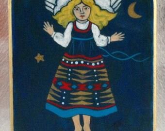 Southwest Angel Retablo, hand-painted on wood by Arizona artist, Karlene Voepel