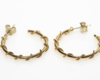 Gold Cord Wrapped Hoops