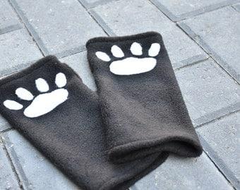 Paw Gloves - Fingerless Wrist Warmers - Wrist Paw Warmers - Arm Warmers - Fleece Arm Warmers - Paw Arm Gloves - Cat Paw Gloves - Meow Gloves