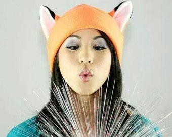 Naruto Hat - Orange Fox Hat - Fox Ears - Fox Fleece Hat - Cosplay Hat - Anime Hat - Halloween Hat - Fox Prop Hat - Fox Costume - Fox Ear Hat