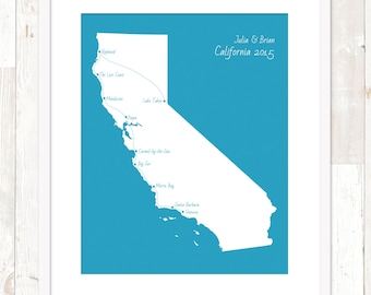 Customized Road Trip Map ~ California Map ~ Personalized Family Vacation Map ~ Art Print ~ CA Poster ~ Many Sizes & Colors Available