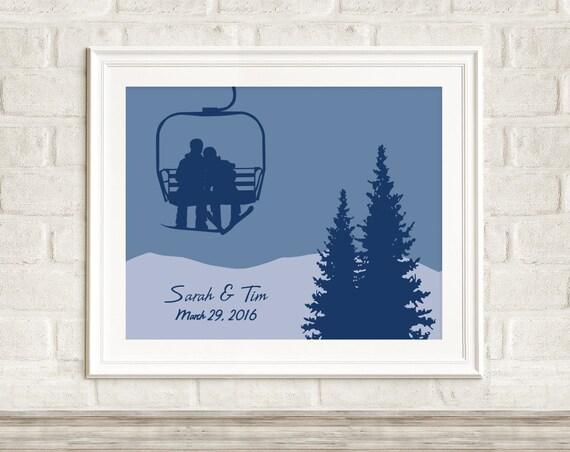 Chair lift couple personalized ski art print customizable chair