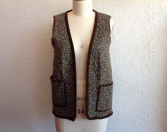 1960s Corduroy and calico cotton quilted vest