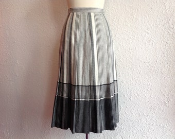 Vintage black and white striped wool skirt