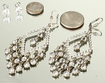 Vintage Fabulous Glamorous Showy Rhinestone Chandelier Leverback Earrings 3.5 inches Long