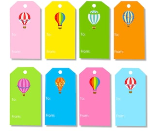 Colorful Hot Air Balloon Gift Tags - INSTANT DOWNLOAD - printable gift tags
