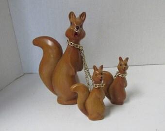 Vintage Wood Kangaroo and Joeys
