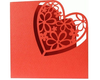 Heart & Daisies Valentine Day Card , blank , Free confetti , spouse , men , women , hearts , red