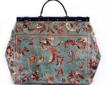 Carpet Gladstone Bag SAC-VOYAGE Pergola Silver - large Mary Poppins, Victorian vintage-style Sac-Voyage made of real carpet
