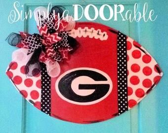 University of Georgia Bulldogs Football Wood Door Hanger by Simply aDOORable!  Football Door Decor, Football Door Hanger, Bulldog Decor, UGA