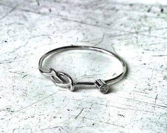 Select a Stone - SOLID 14k White Gold - Tiny Birthstone Stacking Ring - Infinity Knot and Stone of Your Choice - Diamond  White Gold Ring