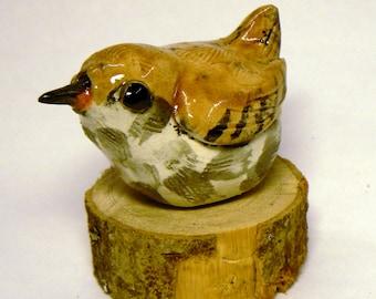 WREN - Garden Birds, Raku Fired Ceramic