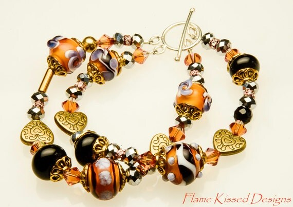 TIGER LILLY...An artisan handcrafted double strand Lampwork glass bead bracelet
