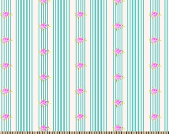 Jennifer Paganelli Cotton Fabric-Katie Lady Stripe With Rose REMNANT