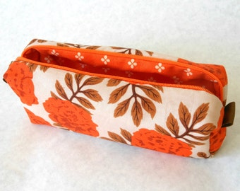 Box Zipper Pouch, Box Zipper Case Small Travel Case Toiletry Kit Tampon Carrier Drop Kit Makeup Case Zipper Bag Boxy Pouch Orange Floral