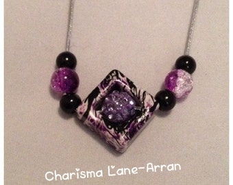 Purple cube pendant
