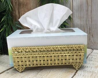 Vintage Bathroom Tissue, Brass Tissue Box Holder, Kleenex Box, Brass Bathroom, Vintage Restroom Decor, Bath Decor, Kleenex Holder