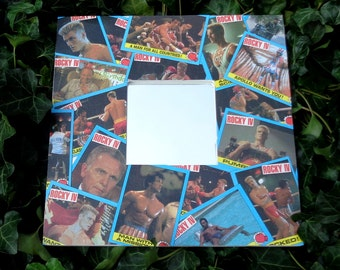 ROCKY 4 movie wall mirror, 1985 Topps original vintage trading card mirror, I must break you, Sly Stallone, Balboa, Drago, Apollo