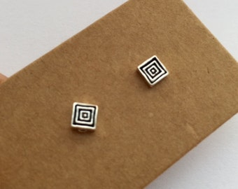 925 Sterling Silver Square Stud Earrings/suitable for sensitive ears/