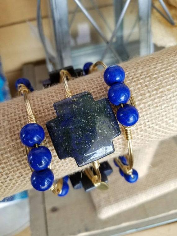 Royal Blue Gemstone Bangles, blue jasper cross, blue howlite