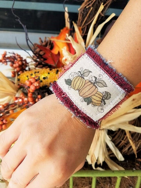 Country Pumpkin- Vintage Fabric Fall Cuffs