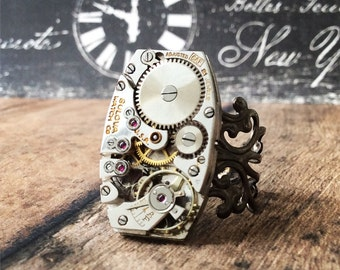 Steampunk Ring, Watch Part Ring, Bulova Watch, Watch Gear Ring, Bulova, Watch Movement Ring, Silver Ring, Statement Ring, Rectangle Ring