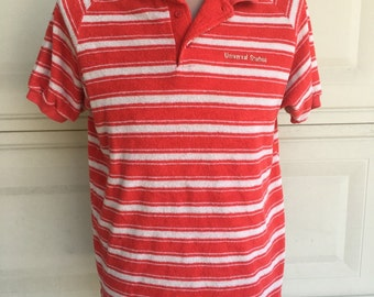Vintage Universal Studios Polo Shirt . Striped Terry Cloth Shirt Size M-L