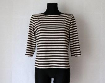 MARIMEKKO Shirt Nautical Top Brown Light Gray Striped Sailor Blouse Marine 3/4 Sleeves Cotton M Size