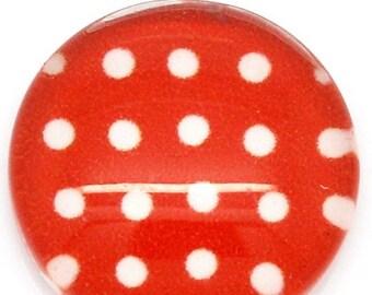 5 cabochon glass blocks polka dot red 12mm (1050)