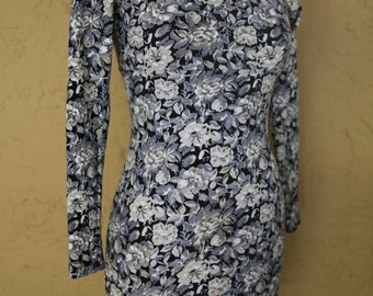 Vintage 80s 90s Body Con Dress Black Grey Multi Color Floral Long Sleeve Medium Large