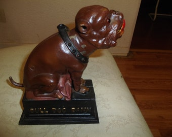 Vintage Cast Iron Bull Dog Coin Bank
