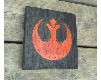 Woodburned Star Wars Sigil Plaque (Rebel Alliance Example) - Handmade to Order