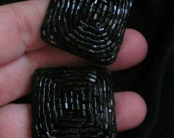 Vintage Black Bugle Bead Earrings Square Chunky Pierced Formal Wedding Seed Bead Earrings big earrings