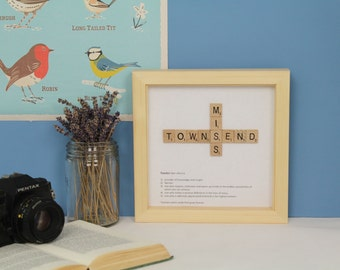 End of year teacher gift personalised - personalised teacher gift, thank you teacher, Scrabble wall art