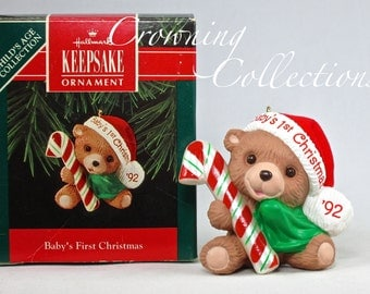1992 Hallmark Baby's First Christmas Keepsake Ornament Teddy Bear Child's Age Collection Mint in Box Candy Cane