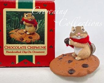 1987 Hallmark Chocolate Chipmunk Keepsake Ornament Cookie Clip-on Critter Scarf Vintage