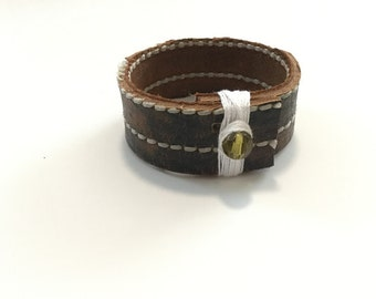 Brown Wide Leather Cuff