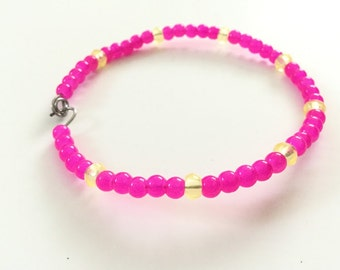 Wire Bracelet With Pink Seed Beads