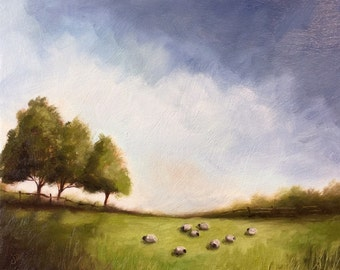 Field of Sheep Original Oil Painting, Welsh Landscape by Jane Palmer