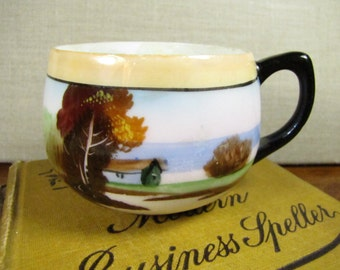 Vintage Chikaramachi Hand Painted Teacup - House and River - Made in Japan