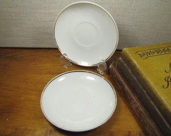 Two (2) Small Vintage Saucers - White - Gold Accent