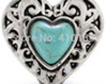 20MM Heart Turquoise Snap Button