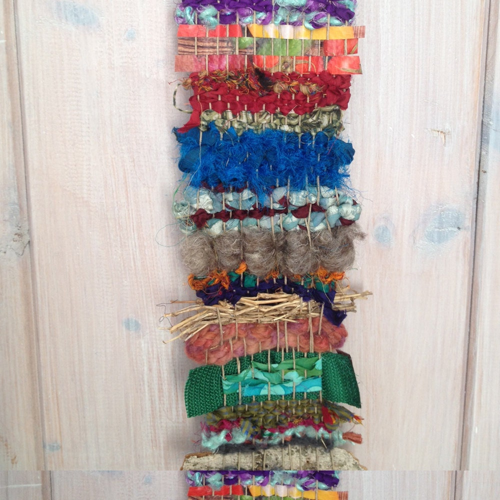 long narrow bohemian woven wall hanging organic thin woven. Black Bedroom Furniture Sets. Home Design Ideas