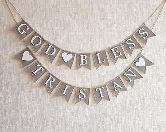God Bless Banner- Baptism Banner-Christening Banner-Communion Banner, Personalized Christening Banner- Baptism Banner