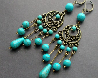 long Chandelier earrings. blue Earrings turquoise. Dangle Earrings. earrings blue stones. The details Antique Brass. gift for her. for you